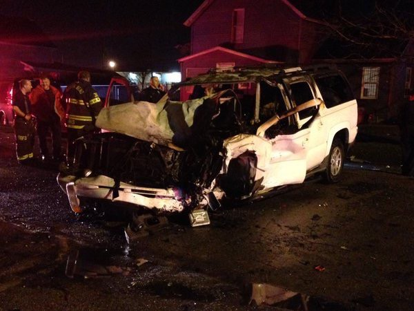 Crash on Indiana Avenue in South Bend ends with SUV in flames