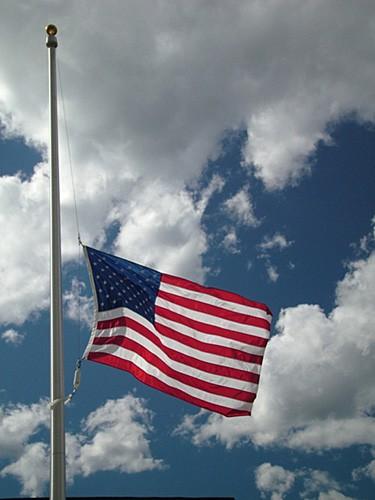 half staff american flag