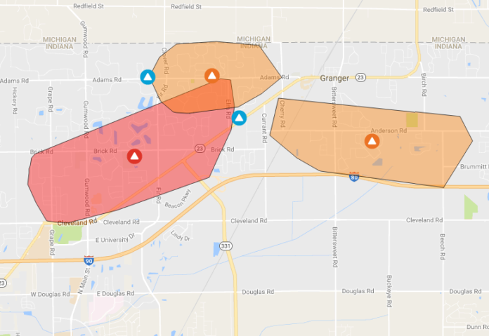Indiana And Michigan Power Outage Map.Power Outage Affecting Thousands Of People In Granger 95 3 Mnc