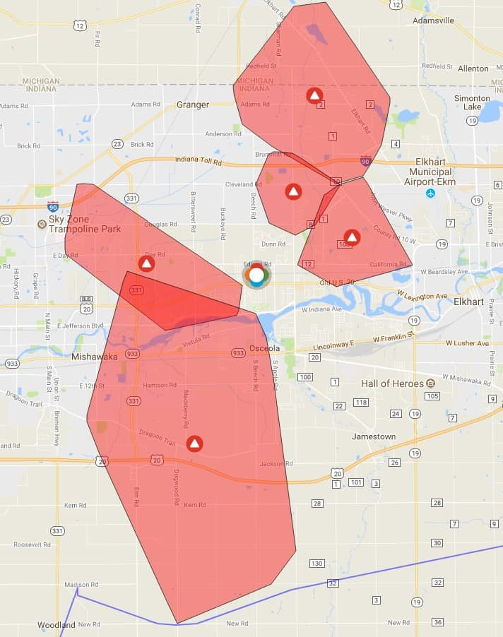 Indiana And Michigan Power Outage Map.Large Number Of Power Outages Reported In Mishawaka Granger