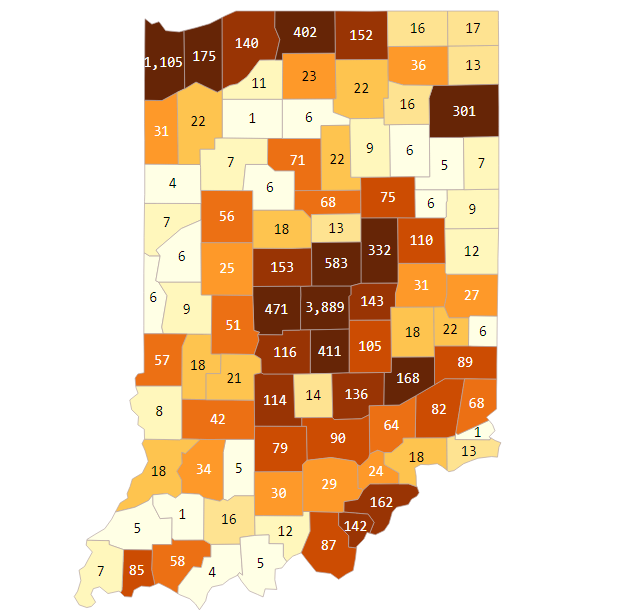 Indiana confirmed COVID-19 cases top 11,000 - 95.3 MNC